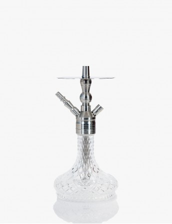 Galaxy Stainless Steel Satine Desktop Hookah Set - Iris Glass One Head Output